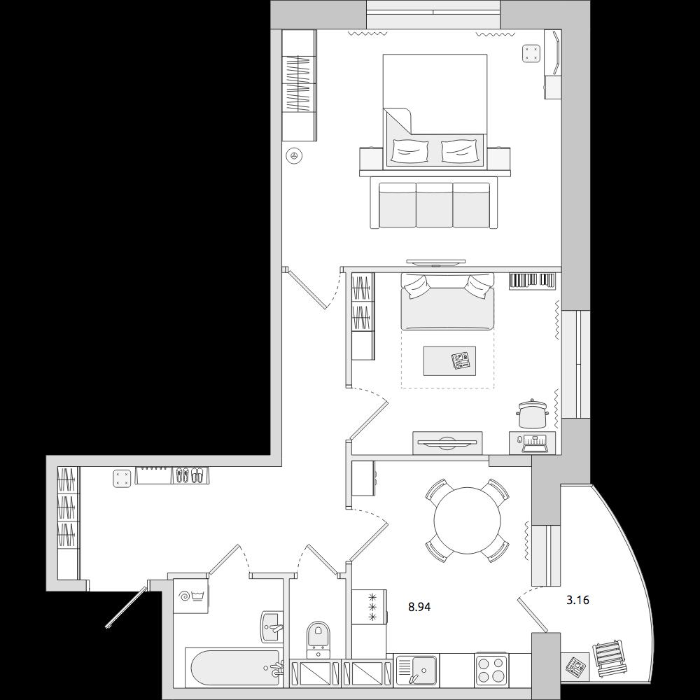 Планировка Двухкомнатная квартира площадью 52.78 кв.м в ЖК «ЦДС «Кантемировский»»