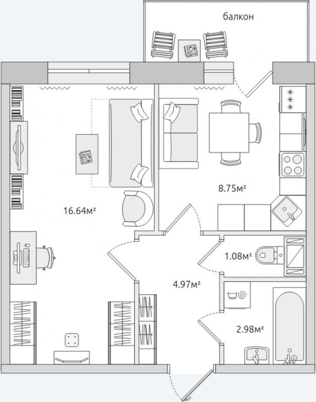 Планировка Однокомнатная квартира площадью 38.58 кв.м в ЖК «ЦДС Кантемировский»