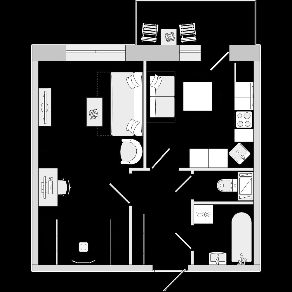 Планировка Однокомнатная квартира площадью 38.58 кв.м в ЖК «ЦДС «Кантемировский»»